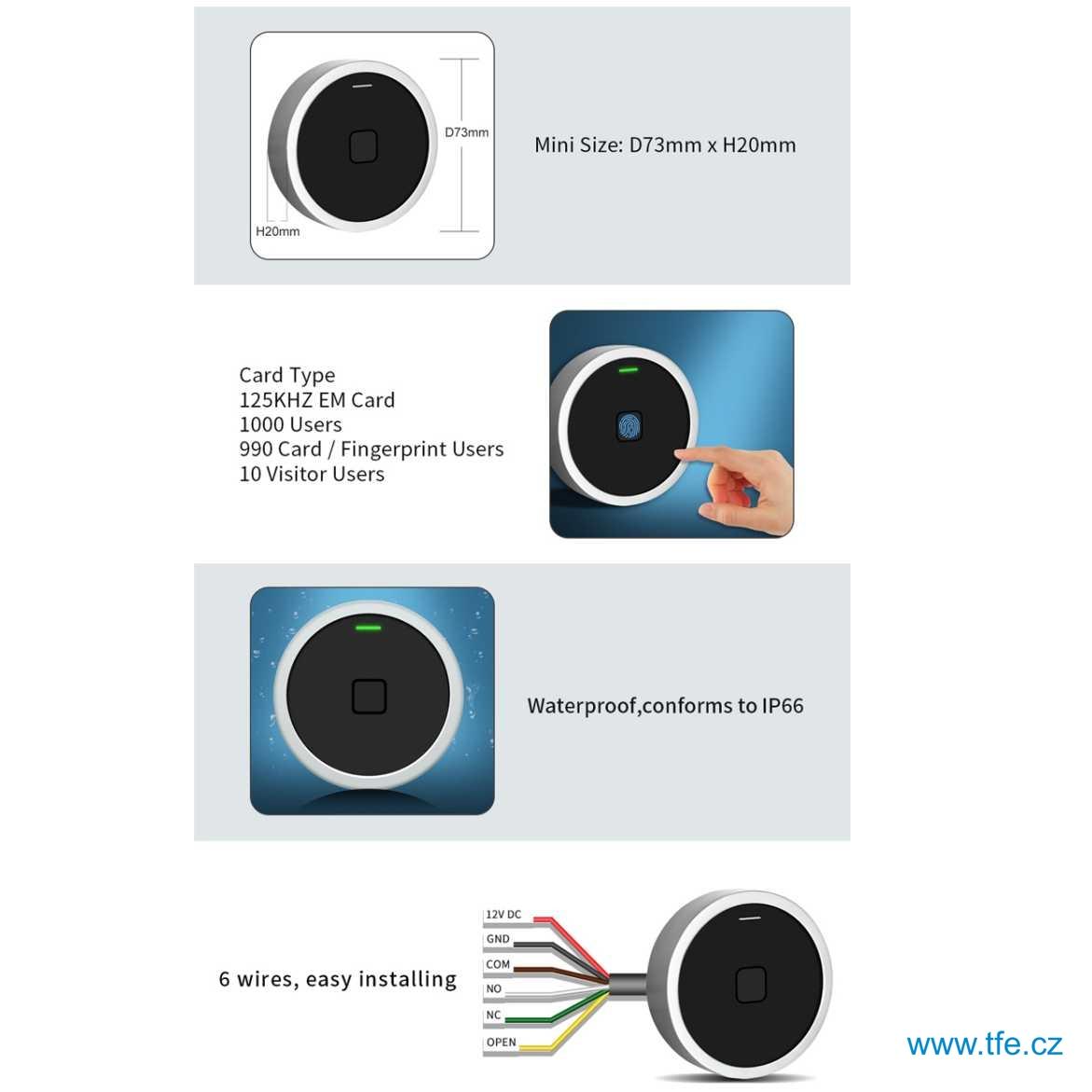 Přístupový systém SF7 s čtečkou otisku a RFID čipů
